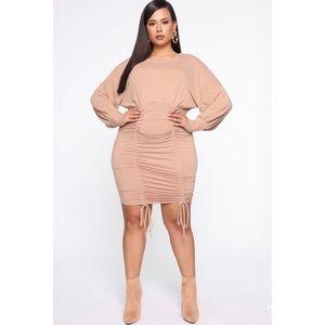 Fashion Nova Taupe Ruched Mini Dress Size 2X & 3X
